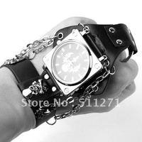 Free Shipping Punk Gothic Ladies Women Men Gens' Genuine Leather Bracelet Cuff Bangle Watch JM040