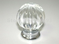 20PCS/LOT FREE SHIPPING 30MM CLEAR MELON CRYSTAL KNOBS ON A CHROME ZINC BASE