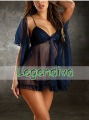 3 PCS Sexy Ladies HOT Blue Lingerie See-through Short Dress Sleepwear Intimate Babydoll W/G-String One Size