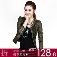 Zipper 2012 spring motorcycle plus size short design leather clothing women outerwear 1199  free shipping dropshipping
