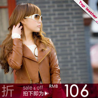 Leather clothing 2012 turn-down collar slim short design leather small leather clothing motorcycle female 0g1007k8