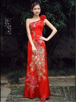Chinese Style Red One Shoulder Married Fishtail Bridal Phoenix  Handmade Quality  Formal Dress,Advanced Royal Evening Dress