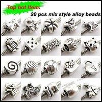 On Sale!!! 120 pcs/lot Alloy Mixed Charms Beads Big Hole Fit Bracelets 150164