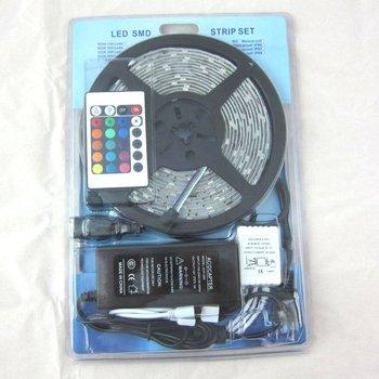 Waterproof 5050 RGB Led Strip Flexible Light 60led/m 5M 300 LED SMD DC 12V+ IR Remote Control + 6A Power Supply