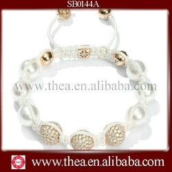 SB0144A Summer fashion shamballa bracelet,3 gold base with clear bead in the middle, most popular design(China (Mainland))