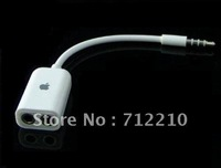 White 3.5mm Male To 2 Dual Female Splitter Audio Cable for apple ipad