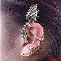 C9R5C Vintage Gothic Rock Punk Dragon Ear Cuff Wrap Clip On Earrings