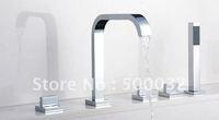 Luxury 5pcs waterfall mixer tap new design bathroom basin copper chrome waterfall faucet chrome bathtub shower mixer set