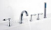 Modern Bathtub Faucet Chrome Brass Bathroom Tap Sink Bath Tub Waterfall Faucet