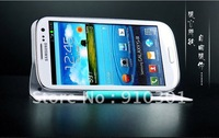 Free shipping 10pcs Samsung Galaxy S3 Stand Leather Case,Case for Samsung Galaxy S3 with stand function