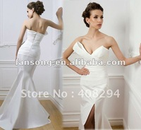 New Arrival Sweetheart Neckline Split White Satin Bridal gowns