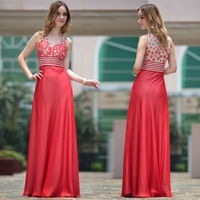 Free shipping DorisQueen 30667 wholesale red color flowers dot v-neck ladies party dresses for women 2012