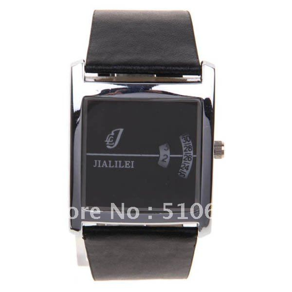Black Rotation Square Dial Digital Display Time Wrist Watch with Leather Band for Men 58859 - 52772(China (Mainland))