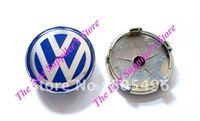 5pcs Top Quality VOLKSWAGEN VW 3D Super Chrome Badge Wheel Center Cap With Blue Colour 60MM