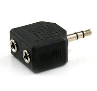 Free Shipping Wholesale RCA 3.5mm Dual Jack AV Adapter Connector