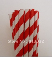 Summer Promotions! paper straws wholesale, thick striped paper straws, red, 500 pcs/lot