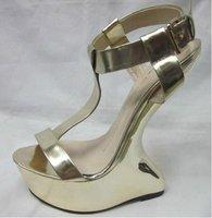 2012 sandals new Rhinestone heel wedges female shoes luxury decorative sandal  ( Lady gaga style)