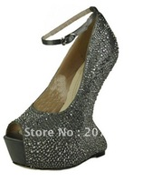 new style hot sale! !No heels pumps crystal wedding shoes sexy high heel pumps open toe platform heels