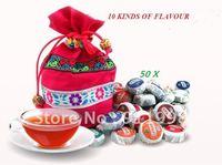 Organic Pu'Er Ripe and Raw pu-er tuocha Do promotion freeshipping 10 kinds Flavor  yunnan Puer tea Chinese tea 50pcs/ 225g