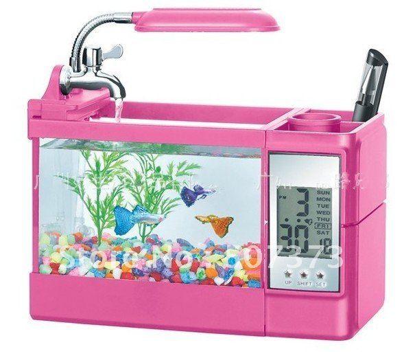 Mini glass small fish aquarium+ cylinder +night light+ pen container ...