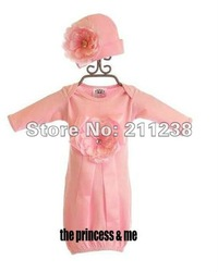 Free shipping 100% cotton 5pcs/lot pink baby sleeping bags with flower hats kid for 0-1 years(China (Mainland))