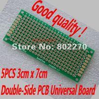 5PCS 3cm x 7cm Double-Side Prototype PCB Universal Board in DIY circuit design