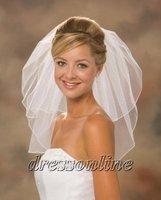 Cheapest White Ivory Elegant Shoulder Length 2 Tier Locked Edge Free Shipping Short Bridal Wedding Veils