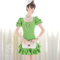 FREE SHIPPING+WHOLSALE 2012 summer green  three-dimensional petals short-sleeve for women dress size S M L