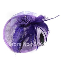 Newest  Fascinator Headwear Hats with feather and flower shape  3 colors HA632 free shipping