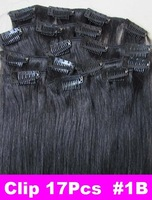 Retail Virgin Brazilian Factory Outlet Price AAA+20''-26'' Remy Human HairExtensions Clips In Extensions 8Pcs 100g #1B Off Black