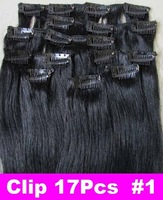 Retail Virgin Brazilian Factory Outlet Price AAA+20''-26'' Remy Human Hair Extensions Clips In Extensions 8Pcs 100g #1Jet Black