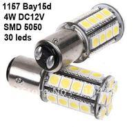 Free shipping 4pcs/lot white 30leds 5050 SMD LED Car light, 1157 Bay15d led car brake stop light, car brake light 4W DC12V