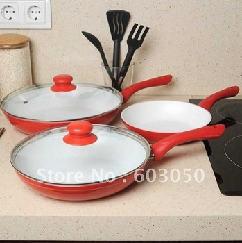 100%Non-Stick CeramiCore pan CERAMIC PAN with Glass Cover Won't Scratch/Chip/Dent Burn or Flake  48sets