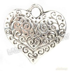 New Arrival 45pcs/lot Heart Metal Charms Silver Blacken Pendants For Jewelry Making 26*27*3mm 142405(China (Mainland))