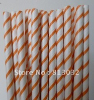 Hot! Free Shipping! Thin striped paper straws wholesale,orange, 500 pcs/lot