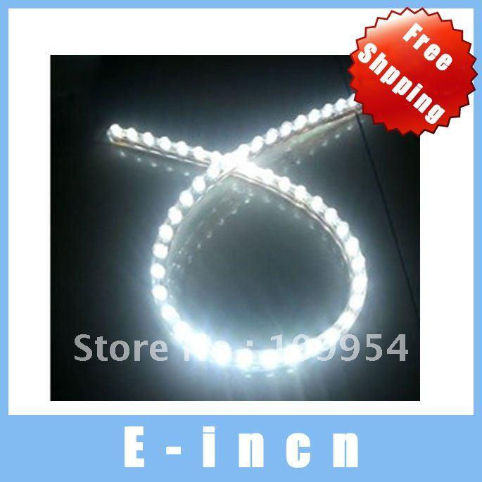 5PCS 48 LED flexible car decorate light bar strip line white.free shipping(China (Mainland))