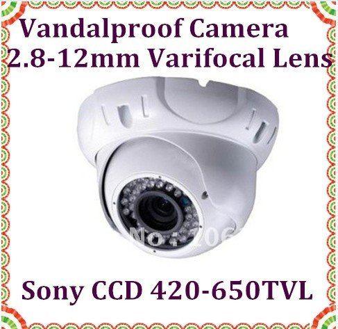 Vandal proof IR Dome Camera White color 2.8-12MM lens metal housing security 36LEDS Camera(China (Mainland))
