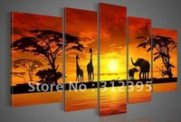 Handicrafts canvas painting woods The giraffe Elephant Landscape Oil Paintings