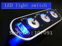 Free Shipping/NEW 3 Way Car Cigarette Lighter Socket Splitter DC 12V + USB + LED light control