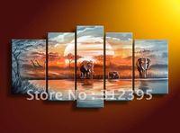 Handicrafts canvas painting Blue lake forest elephants landscape Oil Painting