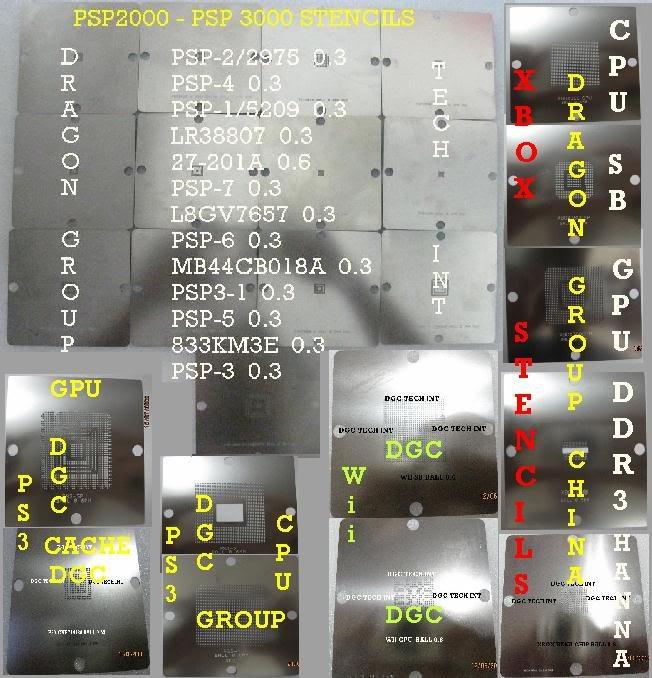 24 Reballing Stencils Consoles Games X box P S3 Ps P Wi i(China (Mainland))