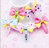 {Min.Order $15}Free Shipping 2013New Kids/Girl/Princess/Baby Bowknot Hair clips/ Ribbon Hair Pins/Hair Accessories/5colors Mixed