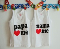 Hot sell,New Baby Clothes Baby t-shirt Boy Girl tops 2 designs Wholesale papa mama love me, 32pcs/lot