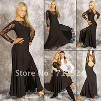 Free Shipping NEW Latin Salsa Tango Rumba Cha Cha Long Sleeve Ballroom Dance Dress  Skirt