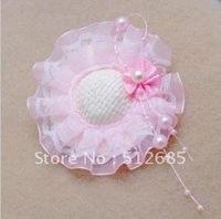 Детский аксессуар для волос Min.Order $15} 2013 New Kids/Girl/Princess/Baby Pink Velvet Crown Pearl Ribbon HeadBand/Hair Accessories