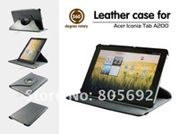 20PCS&Free Shipping Good Quality Stand Tablet A200 Cover,360 Degree Rotating Leather Case Bag For Acer Iconia Tab A200