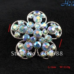 P233-252D!Free Shiping!10PC/Lot!5 leaf Flower Crystal Pin Brooch Trendy Silver Rhinestone Costume Quality Fashion Jewellery(China (Mainland))