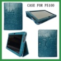 "Free shipping Crocodile Pattern smart cover PU leather stand P5100 cyan tablet case for samsung galaxy tab2 10.1"" rotation case"