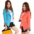 Free shipping 2012 summer candy color leopard print one button blazer suit outerwear,blazer women
