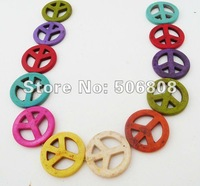Peace Sign Symbol -- 35MM Peace Sign Beads, Multi Colored, Peace And Love, Howlite Stone Beads Jewelry Findings 120PCS/LOT